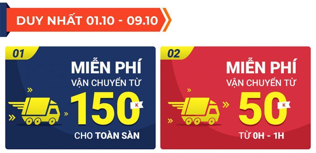 Shopee miễn phí vận chuyển 10.10